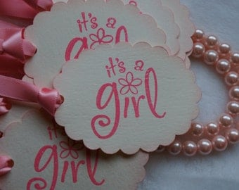 Its a Girl tags, Baby Shower tags. wish tree tags, Set of 40