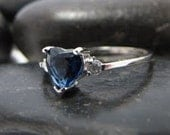 Heart of the Ocean, Solid .925 Sterling Silver, Sapphire and CZ Ring, Handmade in Italy