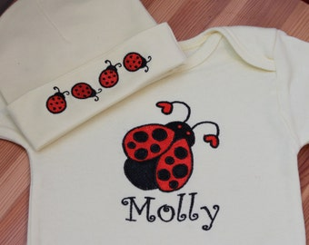 Personalized Embroidered Baby Onepiece Bodysuit and Cap - Ladybug