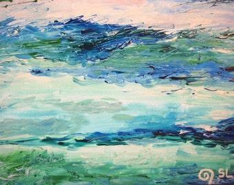 "MYOCEAN - Original Modern Abstract Wall Decor Painting, size: 9"" X 11"" (24 x 30 cm)"