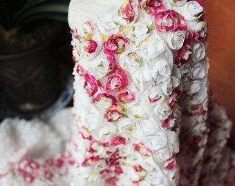 Chiffon Rossette Fabric Shabby Rose Colorful Lace Farbic 47 Inches Wide 1 Yard Wedding Costume Supplies