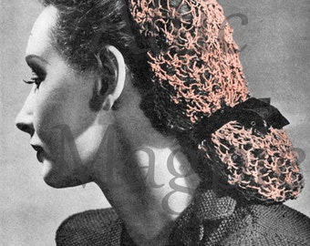 Vintage Knitting Pattern - 1940s Snood - PDF Download