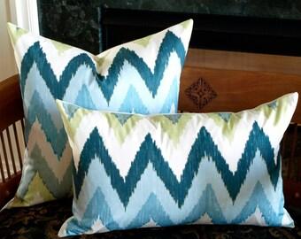 Schumacher ADRAS IKAT Lumbar Pillow Cover in Sky Blue, Accent Pillow, Throw Pillow, Toss Pillow, Decorative Pillow Many Sizes