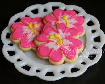 12 Hibiscus Flower Decorated Sugar Cookies