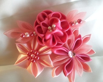 3 tone Pink Kanzashi Flower - Can be attached to hair clip or French Barrette