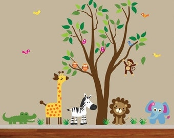 Jungle Tree Fabric Wall Decal Reusable  828