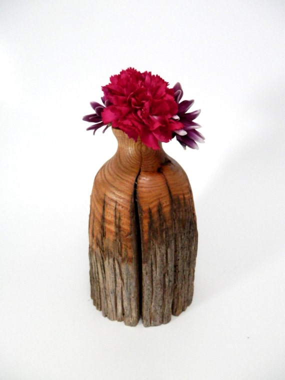 Rustic Wooden Flower Vase Turned In American Chestnut