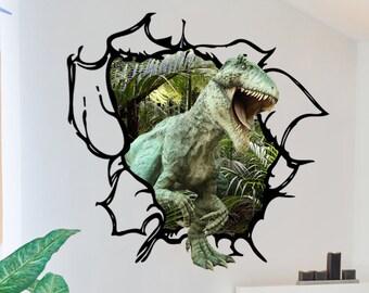 Dinosaur Wall Decal - Tyrannosaurus Rex Tearing through the wall 3D Wall Decal T-Rex