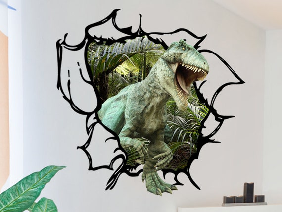 Dinosaur Wall Decal - Tyrannosaurus Rex Tearing through the wall 3D Wall  Decal T-Rex