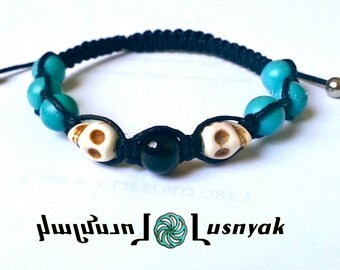 DOUBLE SKULL Shamballa Bracelet with Natural Stones for men and women, guy and girl, stackable and adjustable Lusnyak