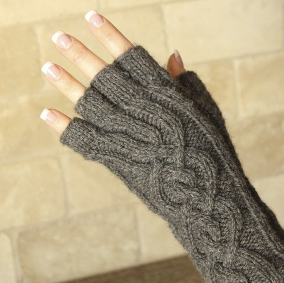 Knitting Pattern Gloves Half Fingers : Cozy Cabled Knit Half Finger Gloves by CreationsbyJCS on Etsy
