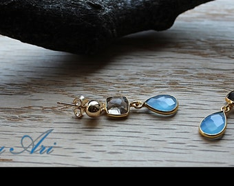 Blue Agates and Smoky Quartz Goldfilled Earrings