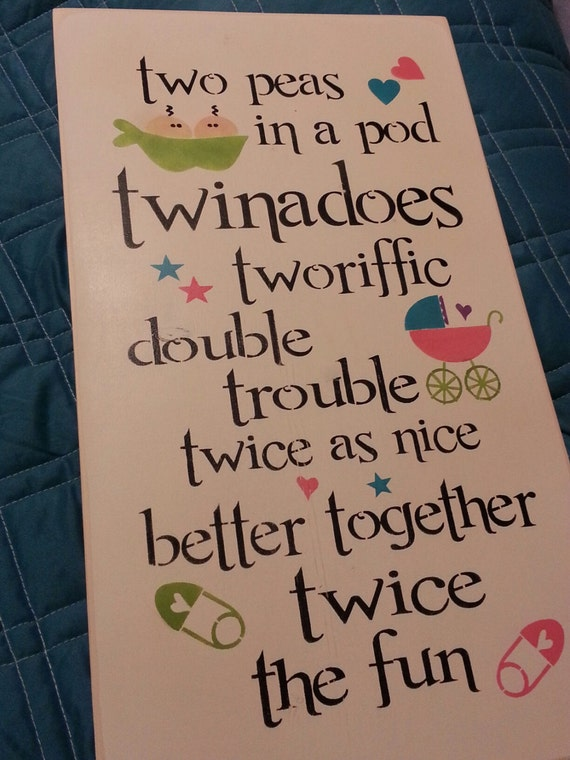 Items Similar To Hand Painted Wood Sign Twin Sign Double