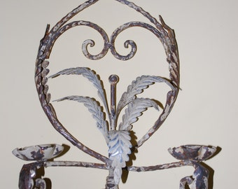 Vintage  White Shabby Chic Cast Iron  Wall Sconces Pair