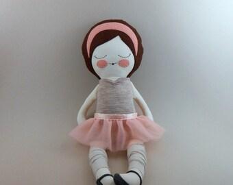 "Anna 18"" cloth ballerina doll, rag doll, customizable, removable tutu, pink, gray"