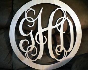 14 INCH BORDER Interlocking Wooden monogram, Wall Letters, Wedding Decor, Home Decor Wood Monogram, Unpainted vine monogram