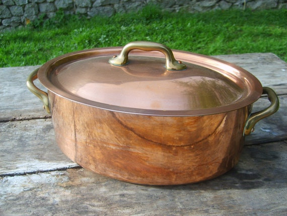 French Copper Casserole Dish with Professional Tin Lining and Brass handles