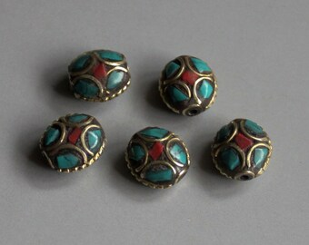 10pcs Nepal Tibetan Brass Bead With Turquoise Coral Inlay 13mm x 12mm - A199