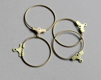 100pcs Raw Brass Gold Hoops ,Earrings Findings 20mm - F34