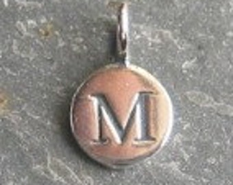solid STERLING silver letter M round alphabet charm , personalise your jewellery with quality letters