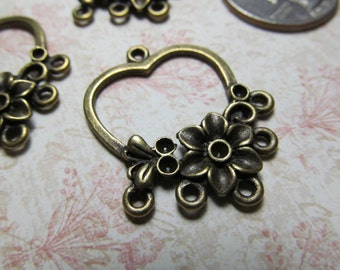 Antique Brass Heart Charms Links Findings