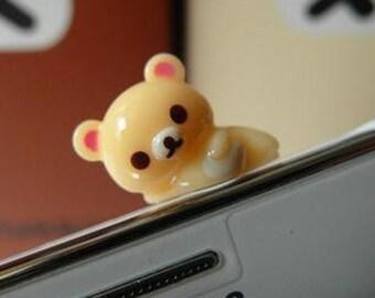 3.5mm Cute Korilakkuma Bear Dust Cap- iPhone, iPad, iPod, Cell Phone, DS, etc