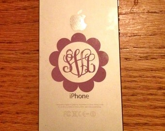 2 inch Scalloped Vine or Circle Monogram Vinyl Sticker iPhone