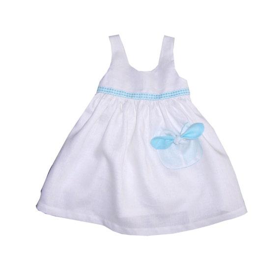 Girls White Turquoise Linen Dress Infant Linen Dress