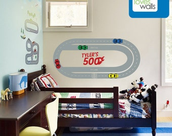 "Medium Nascar Oval Race Track Wall Decal with Custom Name (medium- 50""w x 23""h) - Vinyl Wall Decals by Art Loves Walls"