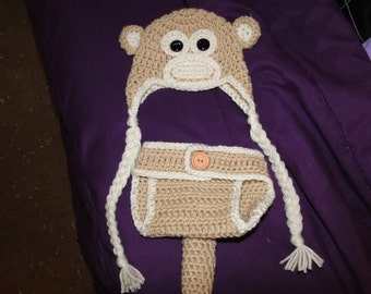 Crochet Monkey Hat and Diaper Cover Set