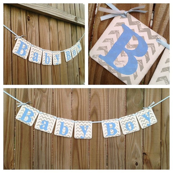 Items similar to baby shower decorations chevron stripes baby boy banner baby shower banner - Baby shower chevron decorations ...