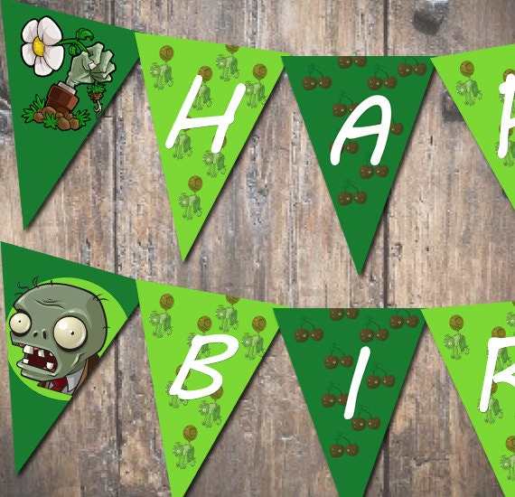 INSTANT DOWNLOAD Pennant Banner Inspired By Plants Vs