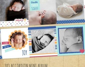 Newborn Baby Mini Album - 3x3 Accordion Album -   Photoshop Template - FN002- INSTANT DOWNLOAD