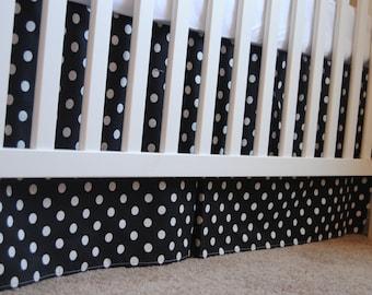 Black and White Polka Dot Box Pleat Crib Skirt