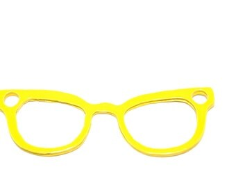 Large Happy Yellow Glasses Connector Charm- 1 piece