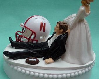 Wedding Cake Topper University of Nebraska Cornhuskers NU Huskers Big Red Football Themed w/ Garter Bride Pulling Groom Away Sports Fans Fun