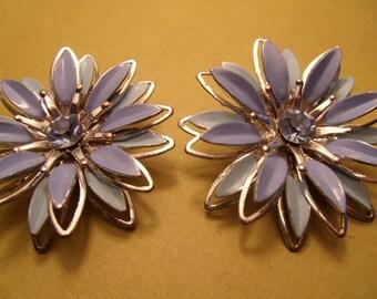 Flower Earrings Vintage Enamel Clip On