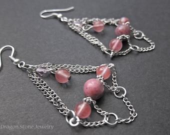 FINAL SALE!!! Rhodonite and Cherry Quartz Chandelier Earrings