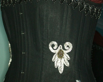 Black Linen Embroidered Gothic corset for a curvaceous lady
