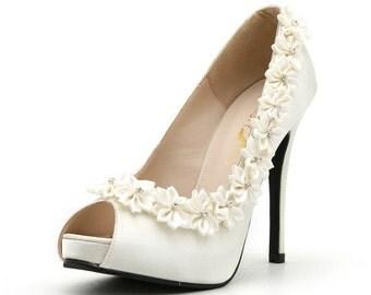 White Rose Wedding Shoes. Wedding Shoes with White Roses. White Satin Wedding Heels.
