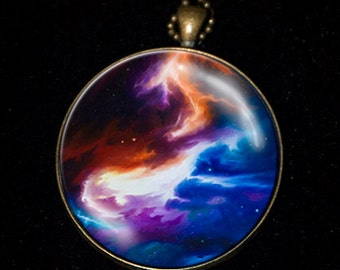Necklace of a painting of mine of a Cosmic Nebula in Space.