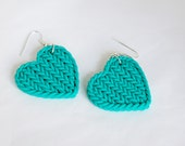 Polymer clay teal aqua green heart faux knitting earrings