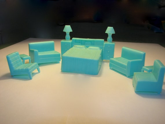 Vintage Dollhouse Furniture 1940 39 S Turquoise Plastic By Moqii