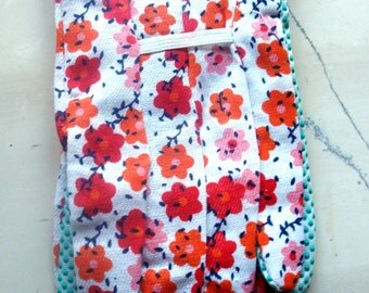 Gardening gloves red flowers one size