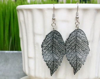 black clear semi transparent leaf earrings