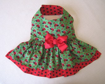 XS and M Little Dog Dress - Ladydbug Pet Harness Dress, Tiny Dog, Puppy dress, Teacup,  Chihuahua, Maltese, Yorkie and other Small Breeds