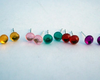 Tiny rhinestone earring studs. You choose the color plus free surprise color.