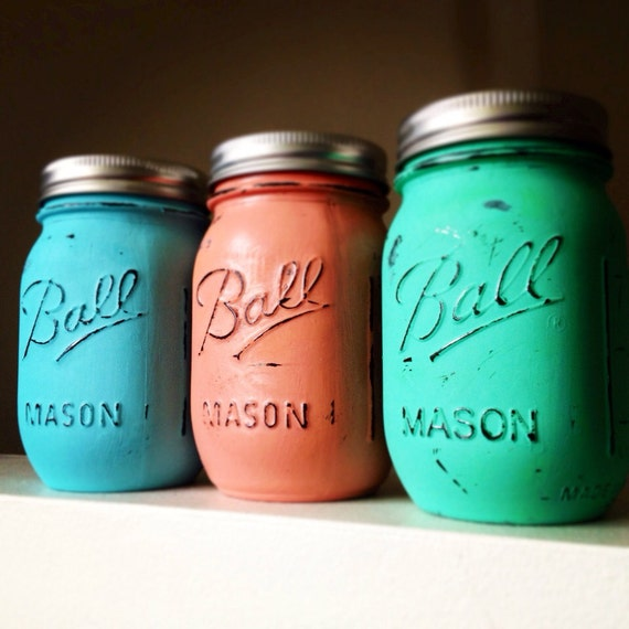 Painted distressed mason jars emerald sea glass green coral turquoise blue vase vintage centerpiece wedding decor ball kerr rustic wedding