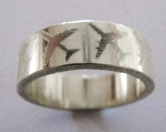 Flying Together Wedding Band 8mm Wide Sterling Silver