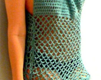 Free Crochet Patterns For Mesh Tops : Mesh crochet tunic-Sea green crochet blouse- Handmade ...